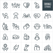 A set of domestic violence icons that include editable strokes or outlines using the EPS vector file. The icons include domestic violence, awareness ribbon, man hitting a woman, desperate person on their knees, person standing up for the cause, depressed person, family, person reaching for help, person verbally abusing another person, angry person, man punching another person, person full of rage, person physically abusing another person, person drinking alcohol, sand person in fetal position, person with arm around the shoulder of an abused victim, person holding a heart, person giving another person a hug, symbol of hope, clasped hands, person reaching for heaven, person supporting a person involved in domestic violence and others.