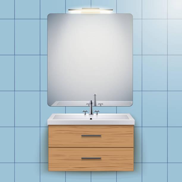 waschbeckenschrank mit spiegel - spiegelfliesen stock-grafiken, -clipart, -cartoons und -symbole