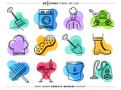 Creative and attractive sketch line icons set of domestic workers. Would be perfect vector illustration for those looking to design mobile applications, web pages, stationery, cards and more.