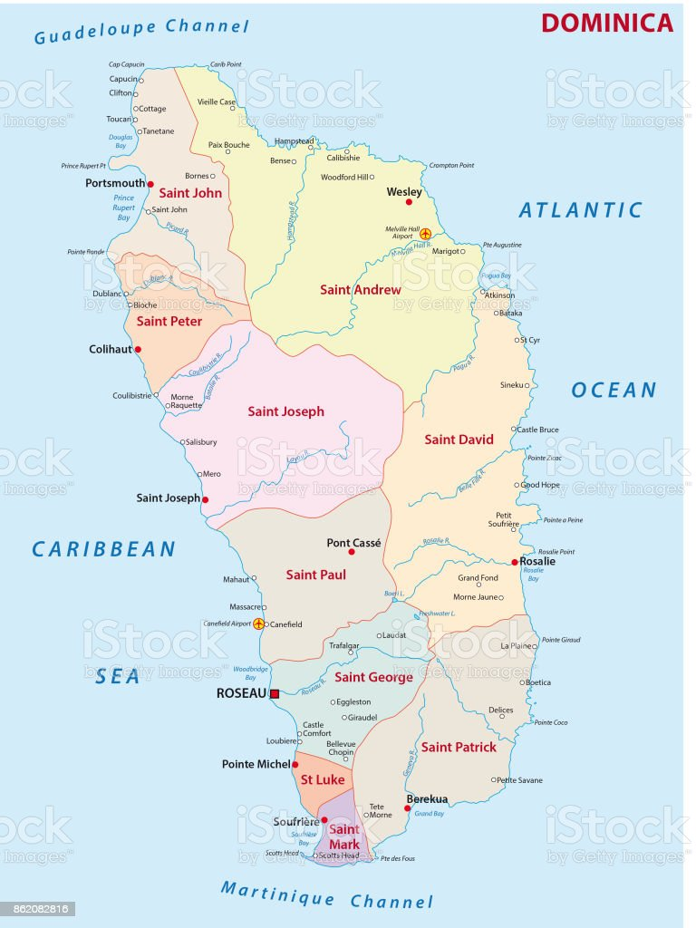 Dominica Administrative Map Stock Vector Art & More Images of ... on