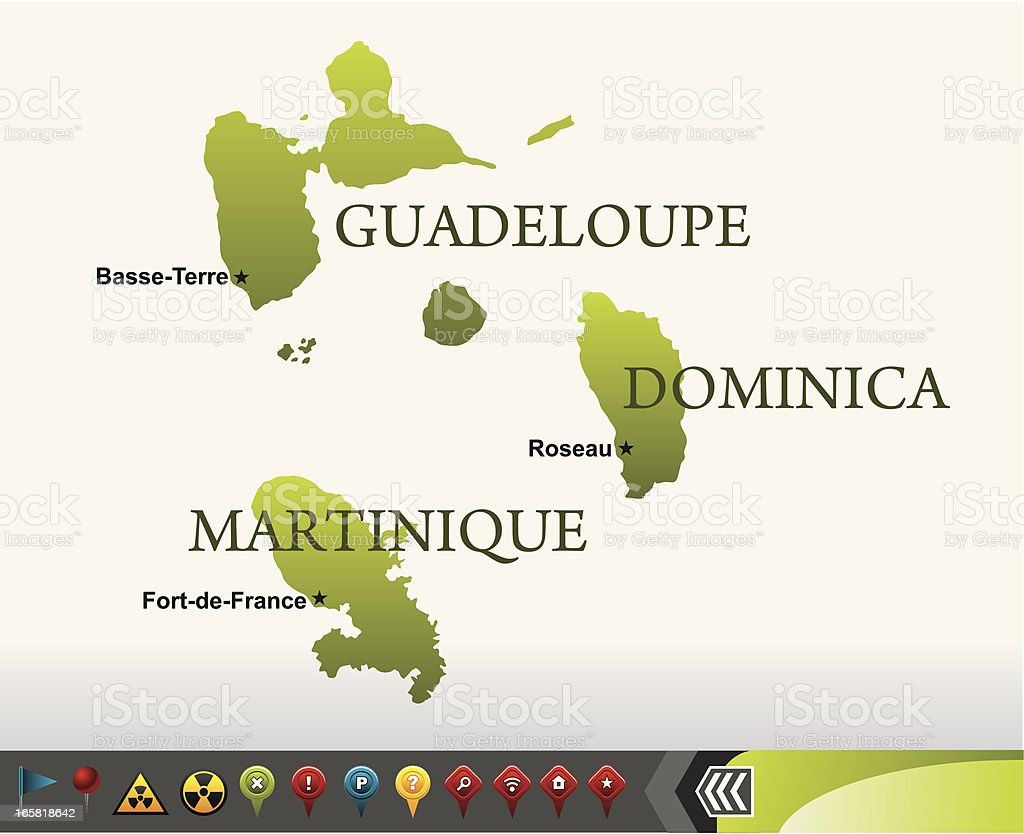 Dominica, Guadeloupe and Martinique maps with navigation icons vector art illustration