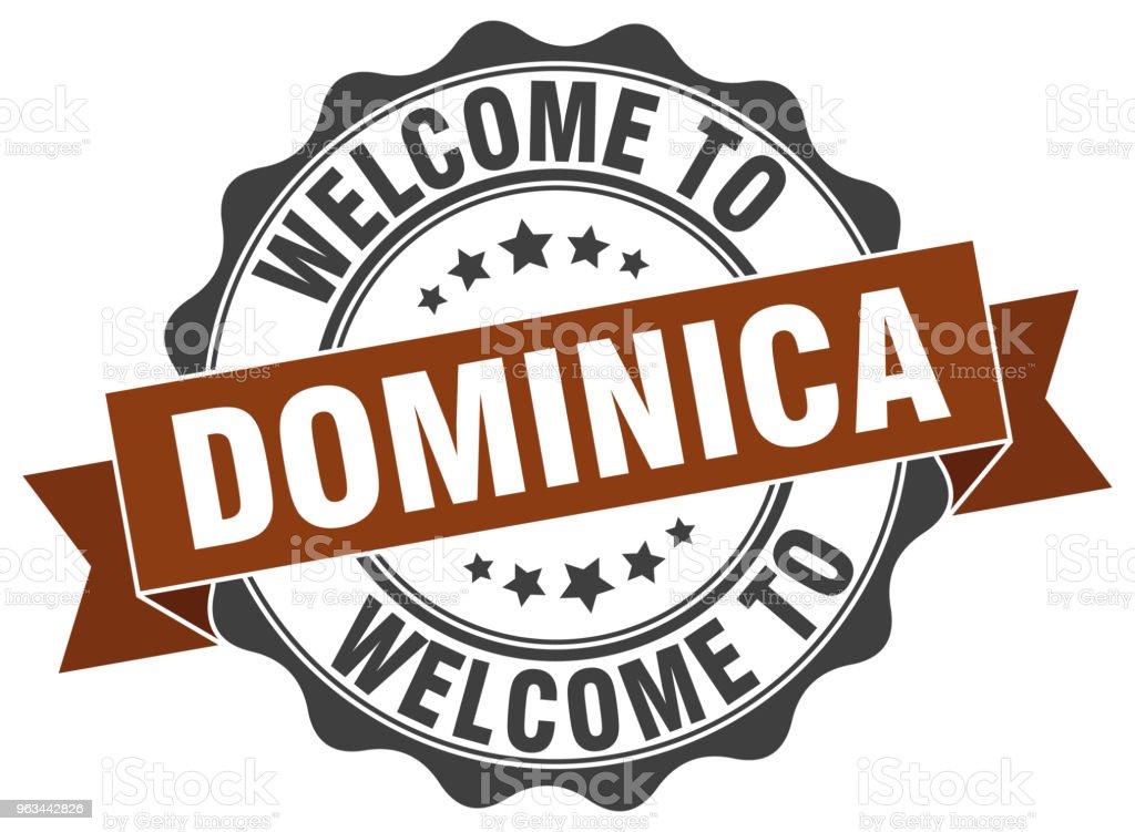 Dominika okrągła pieczęć wstążkowa - Grafika wektorowa royalty-free (Białe tło)
