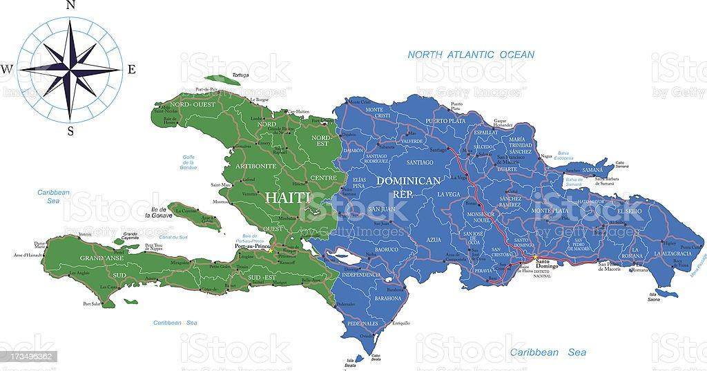 Dominikanische Republik Und Haiti Karte Stock Vektor Art Und Mehr