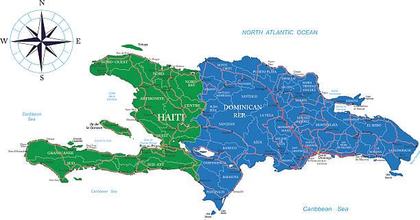 Dominican Republic and Haiti map Detailed map of Haiti and the Dominican Rep.. haiti stock illustrations