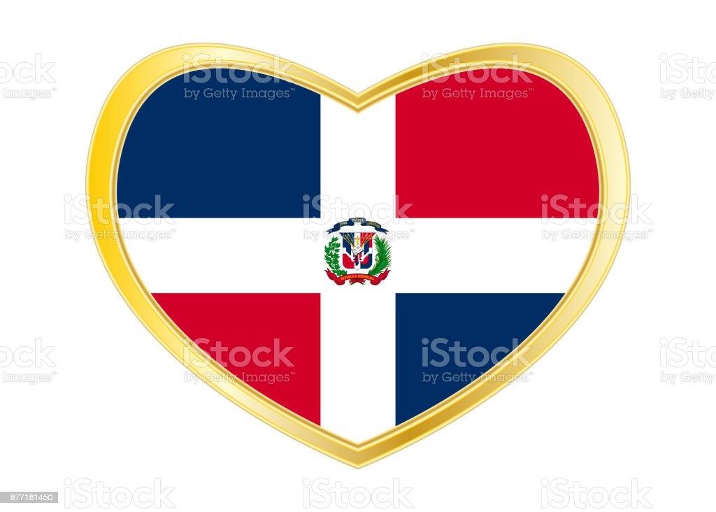 Dominican Republic Flag In Heart Shape Golden Stock Vector Art