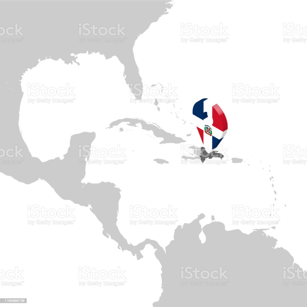 Dominican Republic Location Map On Map Central America 3d ...