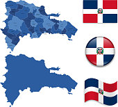 Dominican Republic Map and Flag Collection