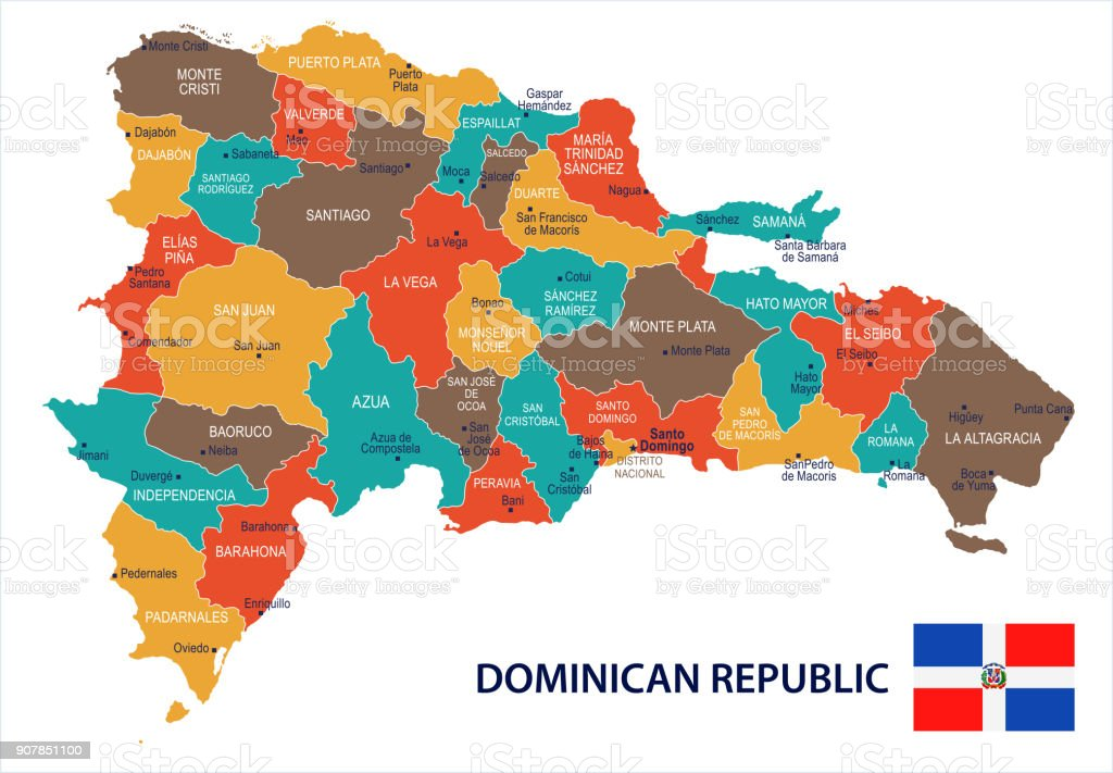 Dominican Republic Map And Flag Detailed Vector Illustration Stock  Illustration - Download Image Now