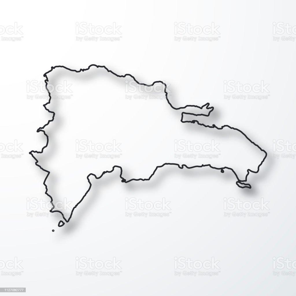 Mapa De Republica Dominicana En Blanco.Ilustracion De Mapa De Republica Dominicana Negro Contorno