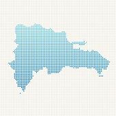 Dominican Republic Map Blue Dot Pattern
