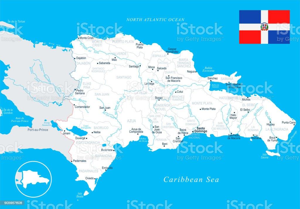 Dominikanische Republik Karte Detaillierte Vektorillustration Stock