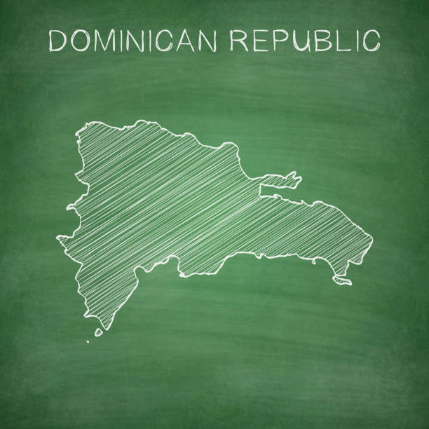Dominican Republic map drawn on chalkboard - Blackboard Map of Dominican Republic drawn in chalk on a green chalkboard with chalk traces. Vector Illustration (EPS10, well layered and grouped). Easy to edit, manipulate, resize or colorize. Please do not hesitate to contact me if you have any questions, or need to customise the illustration. http://www.istockphoto.com/portfolio/bgblue drawing of a haiti map stock illustrations