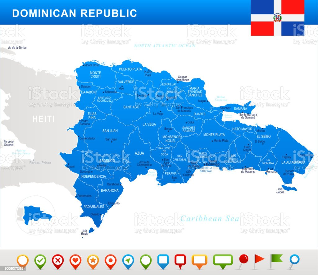 Dominican Republic Map Flag And Navigation Icons Detailed Vector ...