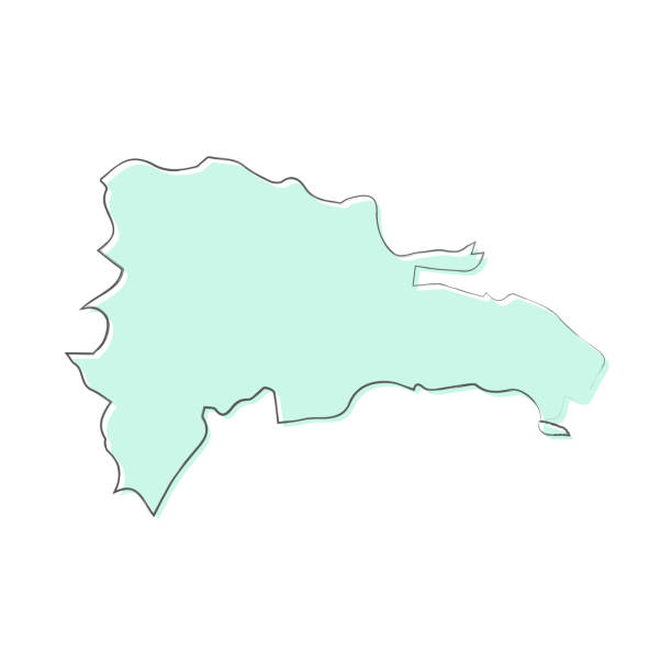 Dominican Republic map hand drawn on white background - Trendy design Map of Dominican Republic sketched and isolated on a blank background. The map is blue green with a black outline. Vector Illustration (EPS10, well layered and grouped). Easy to edit, manipulate, resize or colorize. drawing of a haiti map stock illustrations