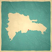 Dominican Republic Map on old paper - vintage texture