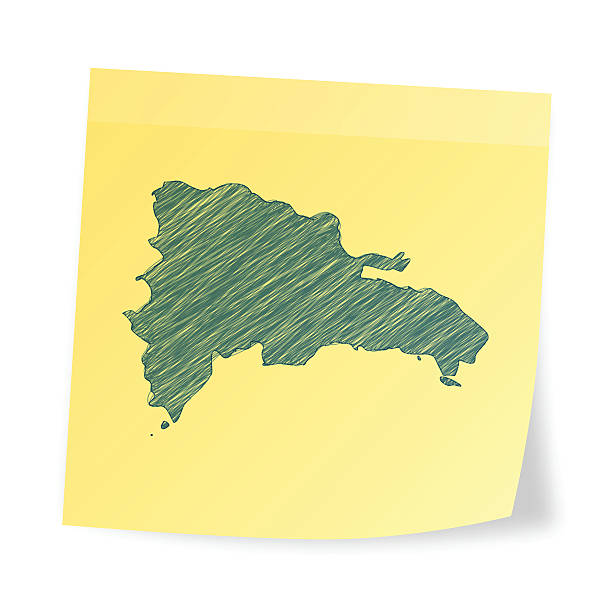 Dominican Republic map on sticky note with scribble effect Map of Dominican Republic scribbled on realistic yellow sticky note and isolated on white background. drawing of a haiti map stock illustrations