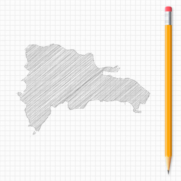 Dominican Republic map sketch with pencil on grid paper Map of Dominican Republic drawn with pencil, isolated on a squared paper sheet. drawing of a haiti map stock illustrations