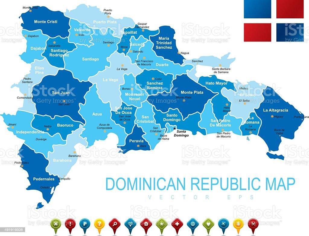 Karte Von Dominikanische Republik Stock Vektor Art Und Mehr Bilder