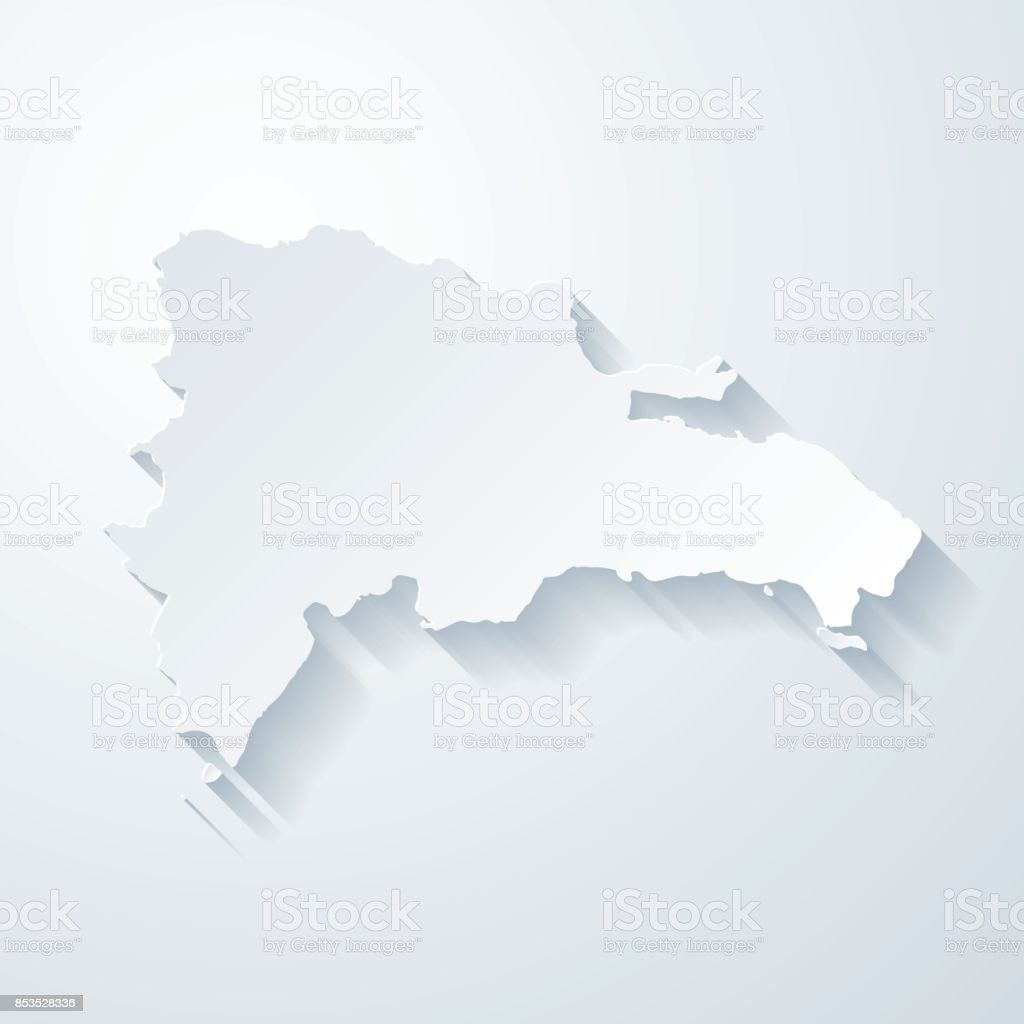 Dominican Republic Map With Paper Cut Effect On Blank Background - Dominican republic map vector