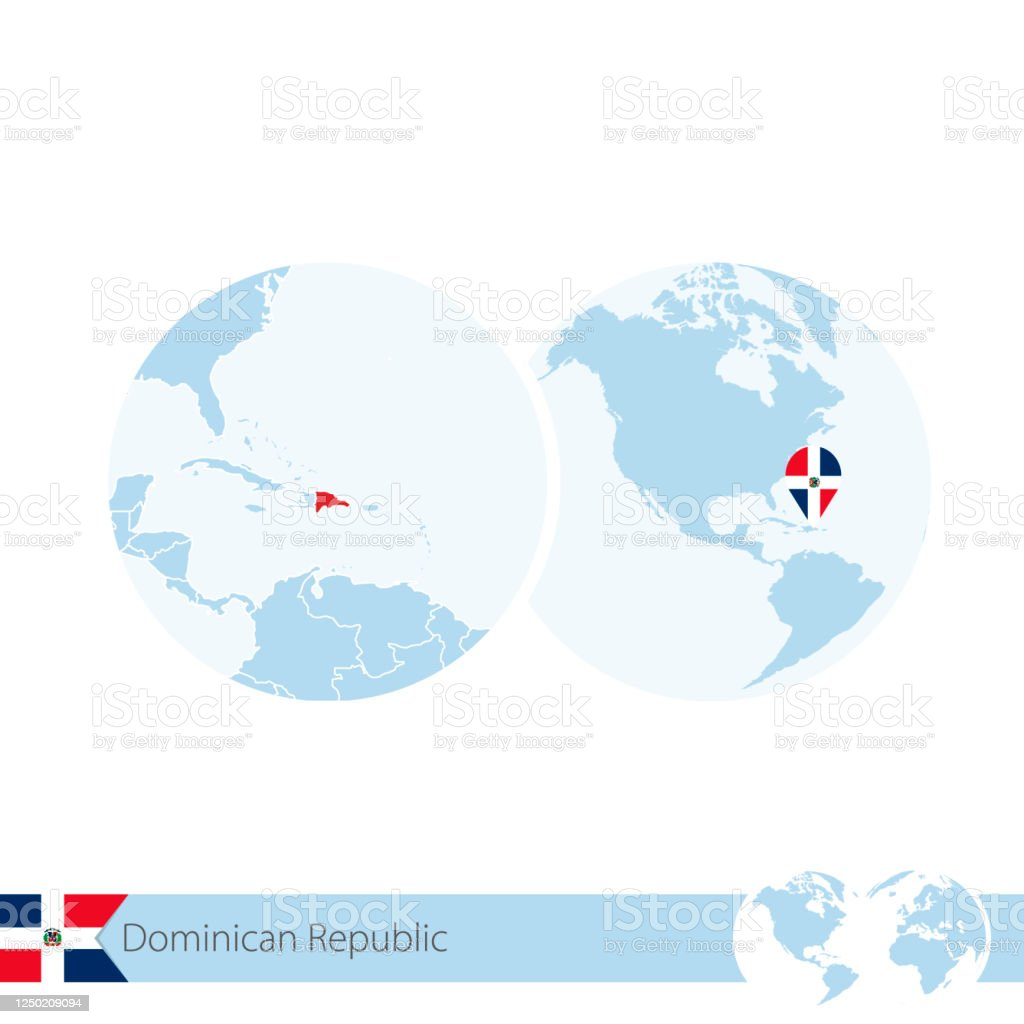 Dominican Republic On World Globe With Flag And Regional Map Of Dominican Republic Stock Illustration Download Image Now Istock