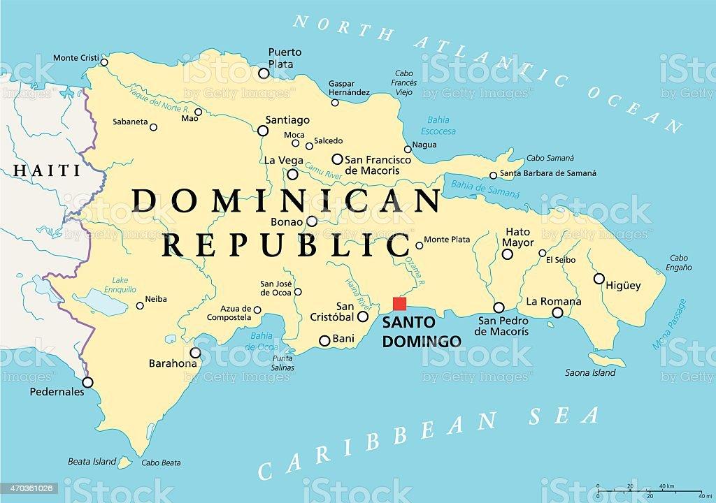 Dominican Republic Political Map vector art illustration