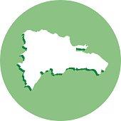 Dominican Republic Round Map Icon