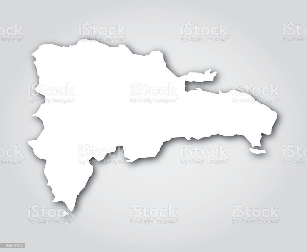 Dominican Republic Silhouette White Stock Vector Art - Dominican republic map vector