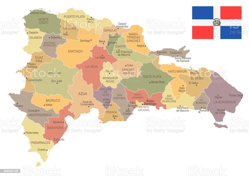 Dominican Republic Vintage Map And Flag Detailed Vector Illustration