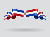Dominican Republic wavy flag. Vector illustration.