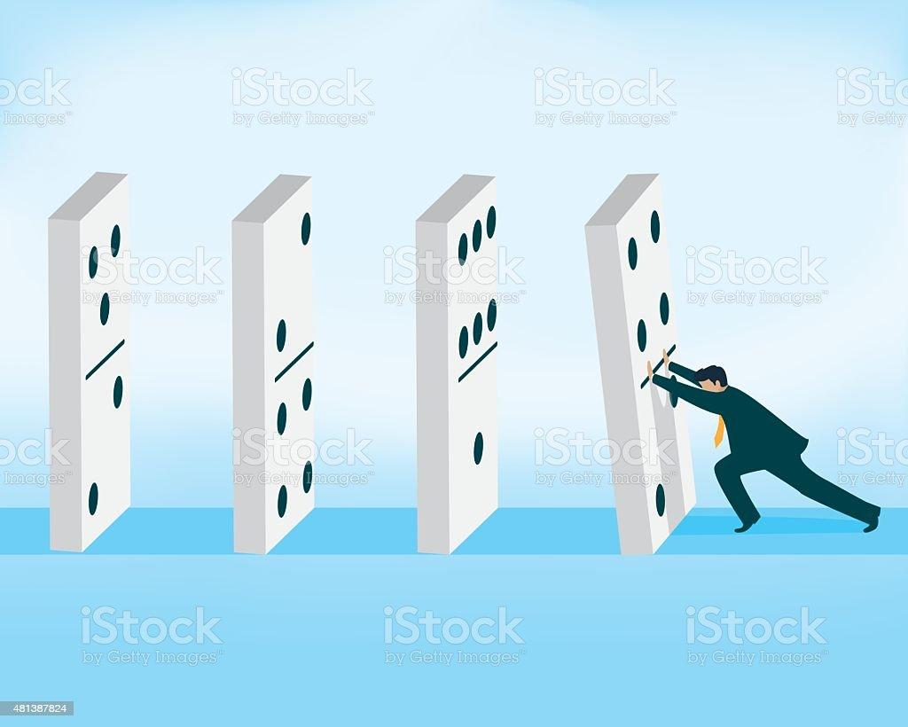 Domino effect, businessman pushing domino piece vector art illustration