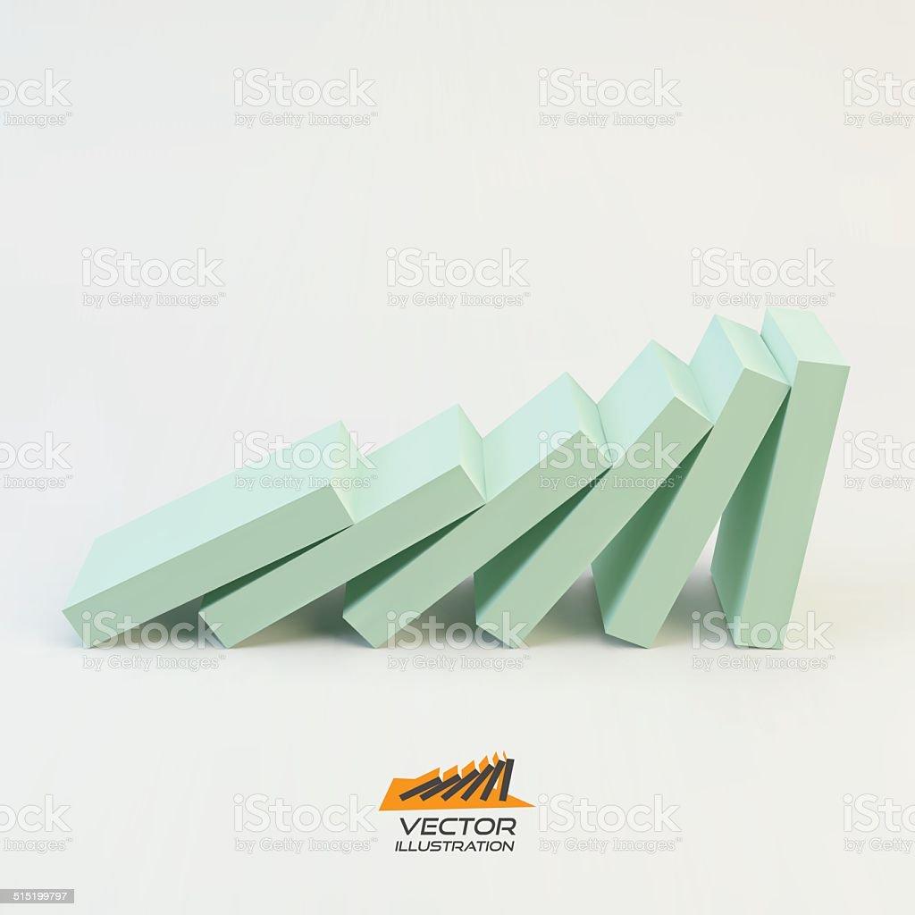 Domino effect concept. Business 3D concept illustration. vector art illustration