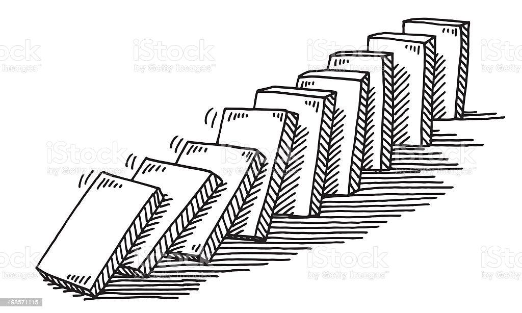 Domino Effect Drawing vector art illustration