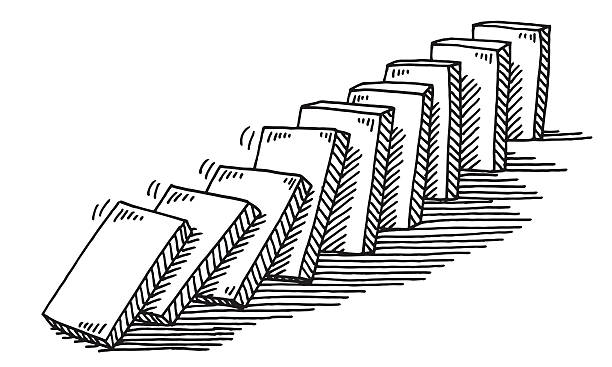 Domino Effect Drawing Hand-drawn vector drawing of a Domino Effect. Black-and-White sketch on a transparent background (.eps-file). Included files are EPS (v10) and Hi-Res JPG. game stock illustrations