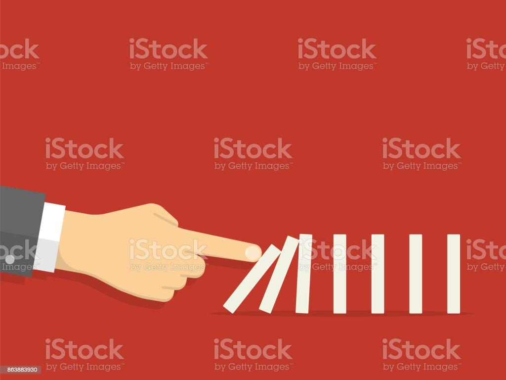 Domino effect. Man hand pushing the domino. Flat design style
