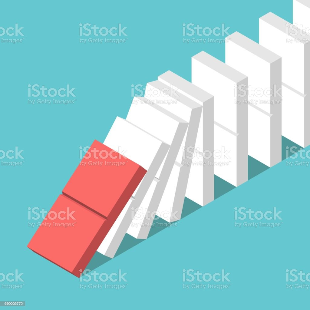 Domino effect starting vector art illustration