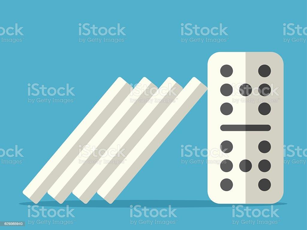 Domino effect stopped vector art illustration