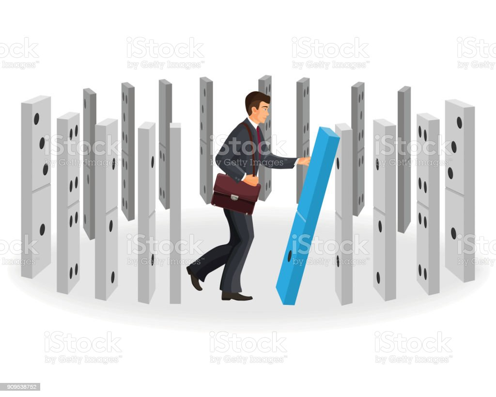 Domino Effect Visualization With Businessman In Classic Suit