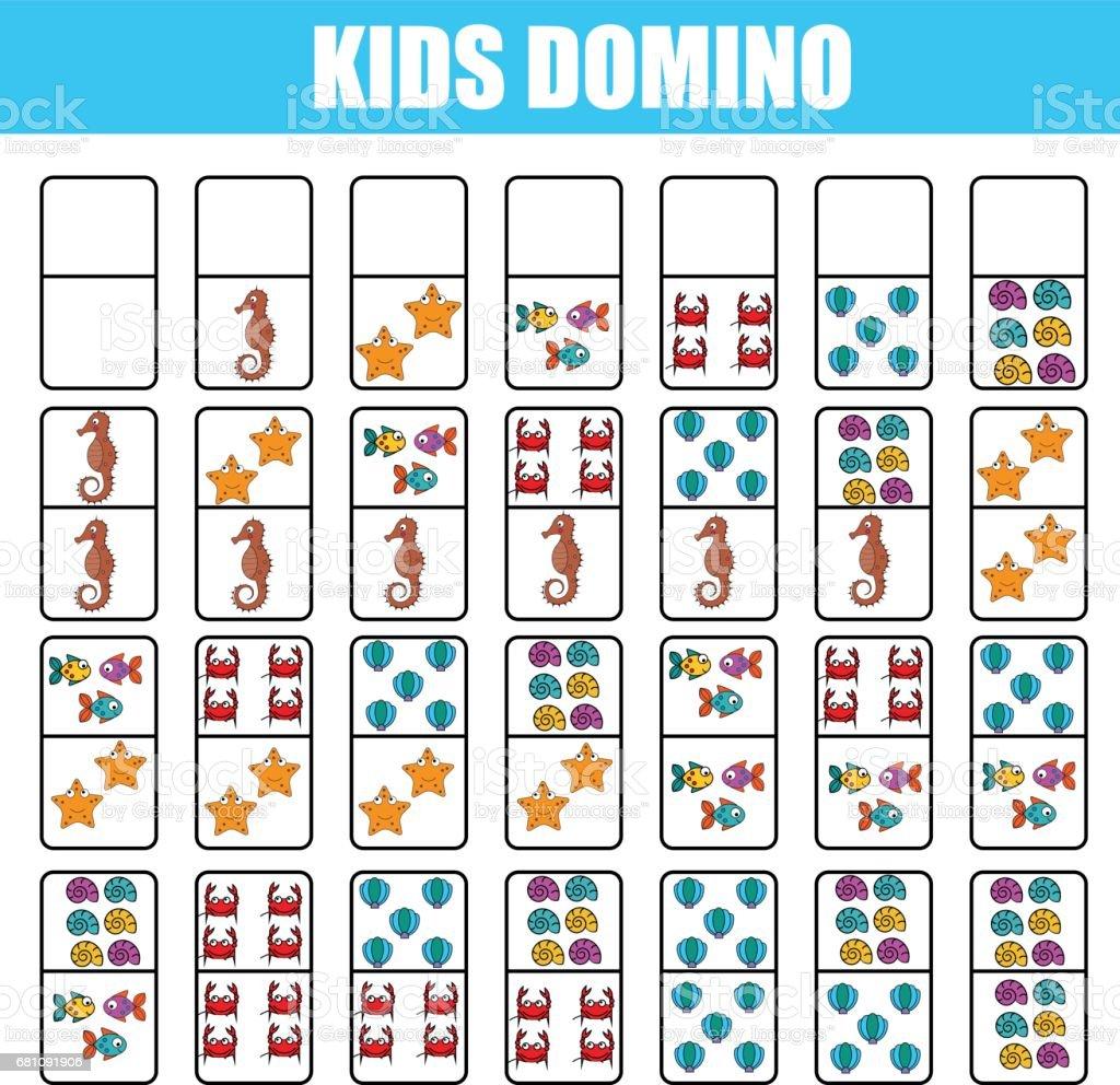 Ilustracion De Domino Para Ninos Juego Educativo De Los Ninos