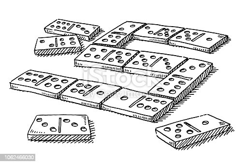 Hand-drawn vector drawing of a Domino Game. Black-and-White sketch on a transparent background (.eps-file). Included files are EPS (v10) and Hi-Res JPG.