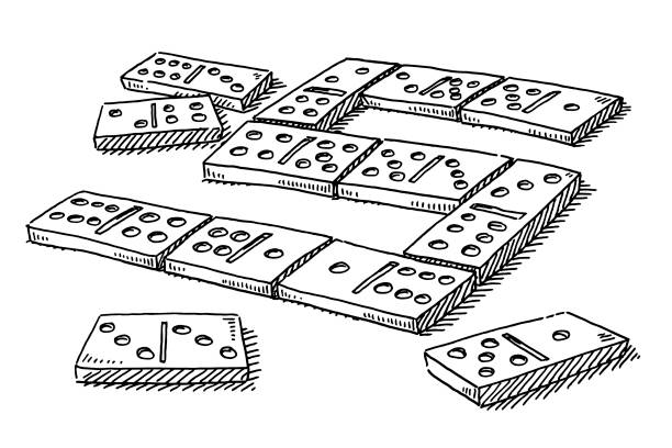 Domino Game Drawing Hand-drawn vector drawing of a Domino Game. Black-and-White sketch on a transparent background (.eps-file). Included files are EPS (v10) and Hi-Res JPG. game stock illustrations