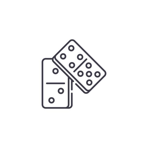 多米諾線性圖示概念。多米諾線向量符號, 符號, 插圖。向量藝術插圖