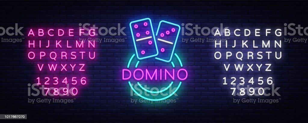 Domino Neon Logo Vektor Dominoleuchtreklame Design Vorlage Modernen