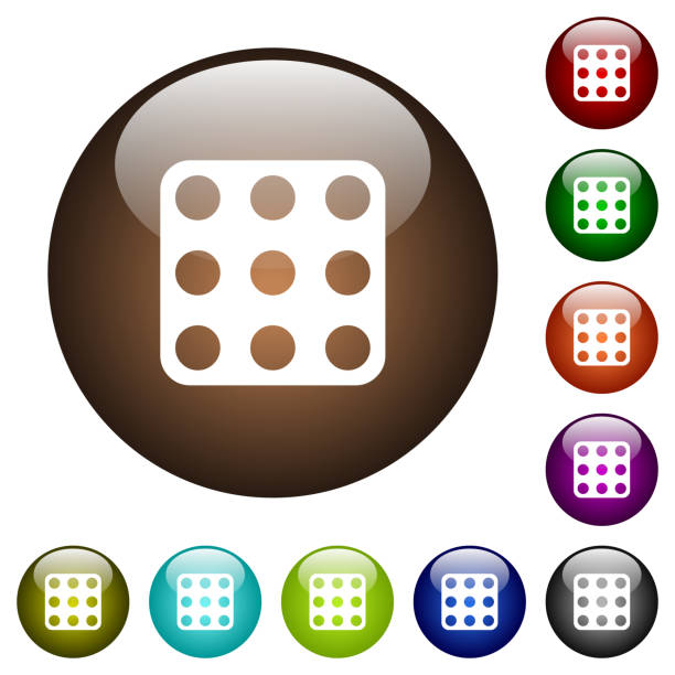 Domino Nine Color Glass Buttons Vector Art Illustration