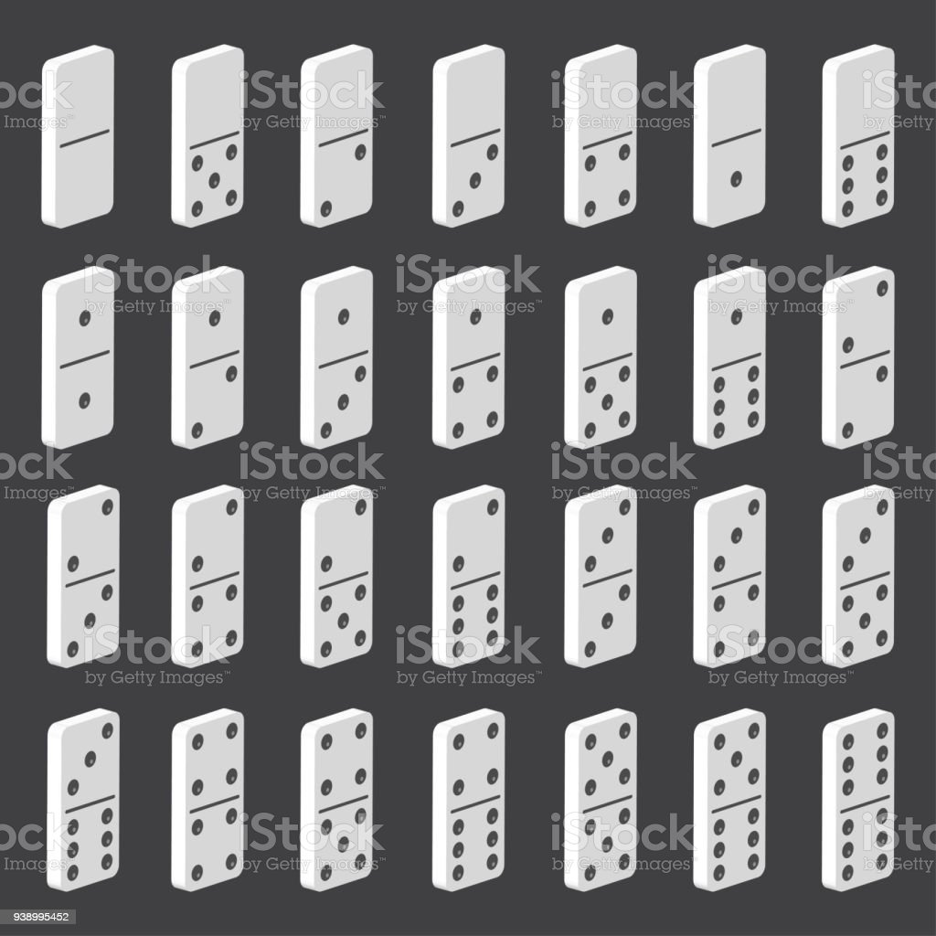 Domino Set Vector Realistic 3d Illustration Full Classic