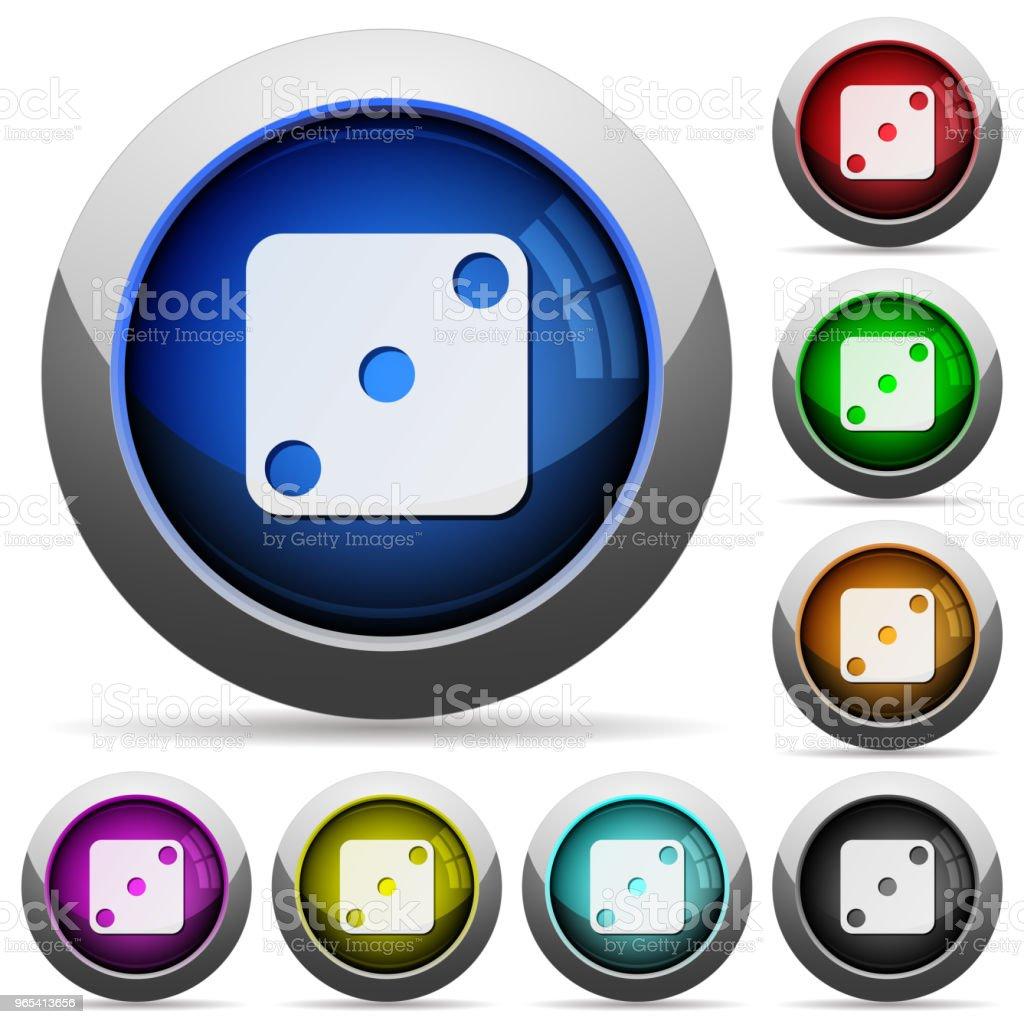 Trois boutons ronds brillants de Domino - clipart vectoriel de Acier libre de droits