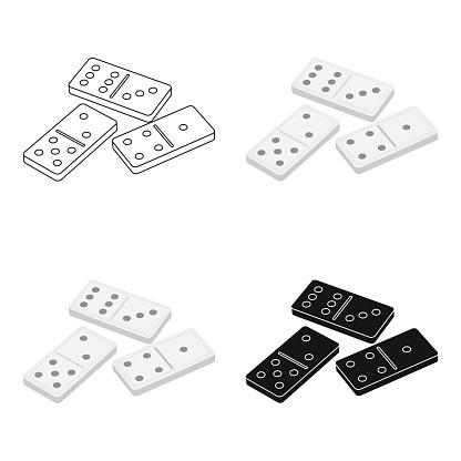 Dominoes For Playing In The Casino Gambling For Moneykasino Single Icon In Cartoon Style Vector Symbol Stock Webillustration - Arte vetorial de stock e mais imagens de Atividade