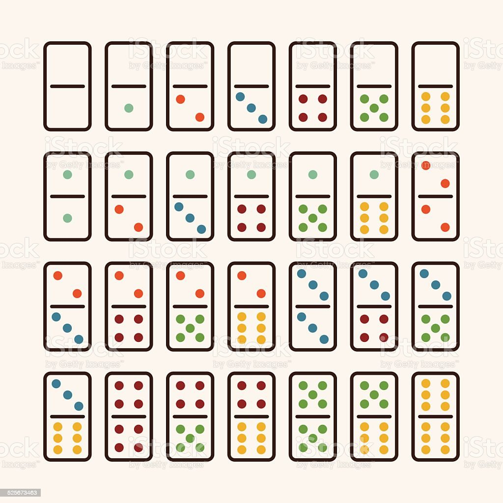 Dominoes Icons Set 1 - Color Series vector art illustration