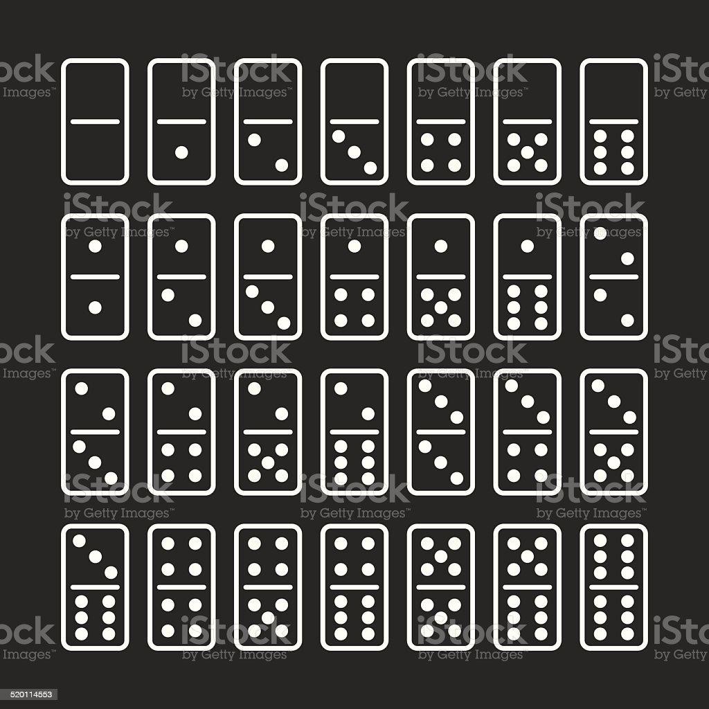 Dominoes Icons Set 1 - White Series vector art illustration