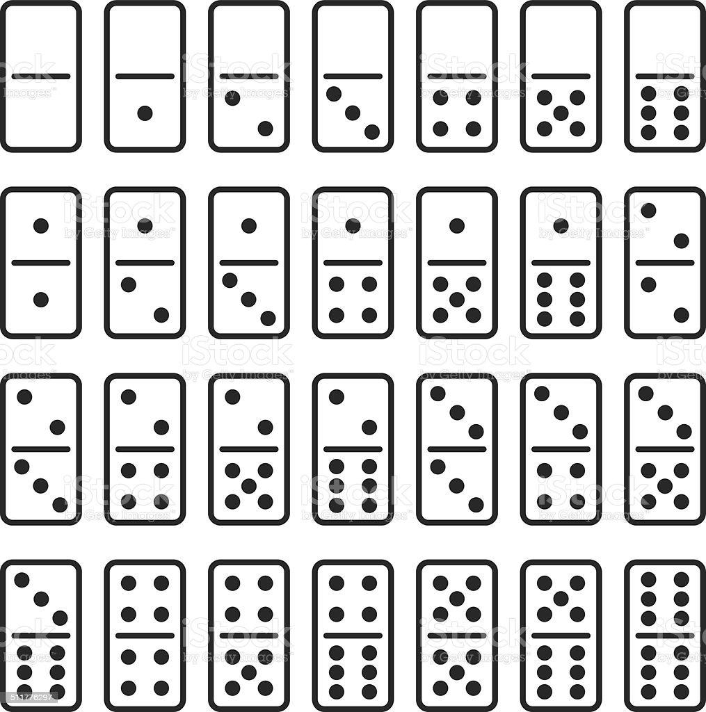 Dominoes Silhouette Icons | Set 1 vector art illustration
