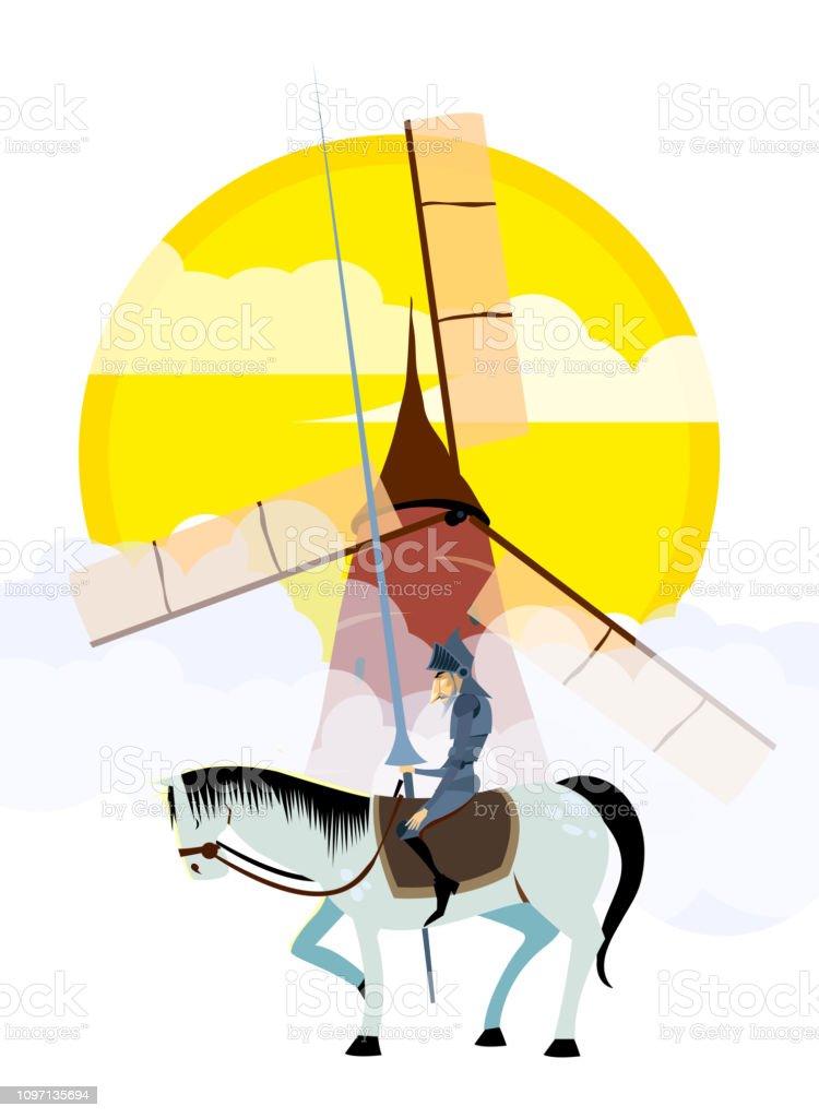 Don Quijote Und Sancho Panza Reiten Auf Windmuhlen Stock Vektor Art